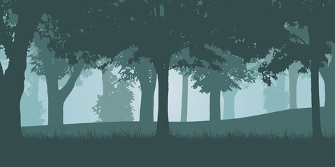 Vector illustration of a green deciduous forest