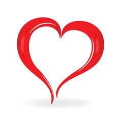Heart love. Valentines symbol logo