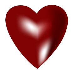 Perfect Red volumetric heart isolated. Red heart with a bright flare on a white background