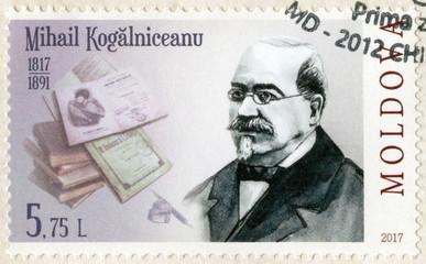 MOLDOVA - CIRCA 2017: shows Mihail Kogalniceanu (1817-1891), statesman, lawyer, series Eminent personalities