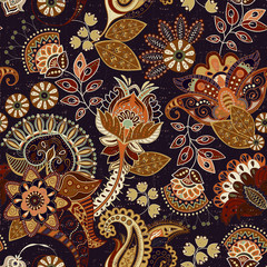 Colorful vector seamless pattern. Hand drawn illustration with paisley and decorative flowers