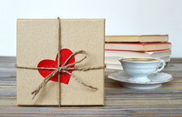 Gift box wrapped in brown paper