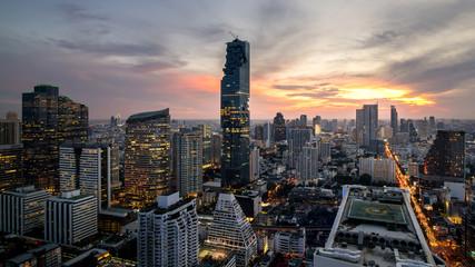 Bangkok city - beautiful twilight sunset long exposure light  cityscape at night  , landscape Bangkok Thailand