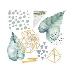 Hand drawn illustration with watercolor and marble elements. Scandinavian design.