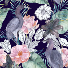 Watercolor seamless pattern with ink elements. Exotic birds and flowers. Hand drawn illustration