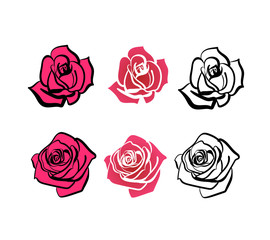 a set of roses of different shapes, contour roses and full-color roses. Roses for decoration of cards