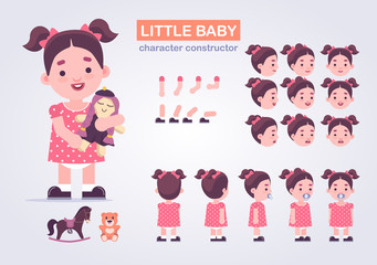 Happy little kid girl character with various views, face emotions, poses . Baby with toys: doll, teddy bear, horse.  Front, side, back view animated character
