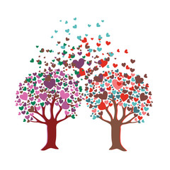 Two romantic trees with leaves in shape of heart. Vector illustration on white background