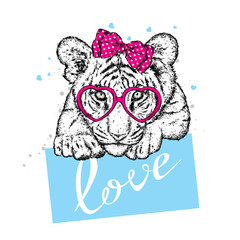 Cute tiger with hearts, glasses and a tie. Vector illustration for a postcard or a poster, print for clothes. Valentine's Day, love and friendship. Tiger cub in clothes and accessories.