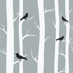 Winter trees with black crows. Seamless pattern. Vector illustration on grey background