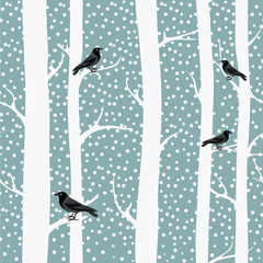 Black crows on the winter trees. Snowing. Seamless pattern. Vector illustration on grey background