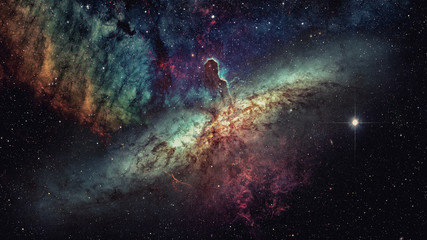 Cosmic clouds of mist on bright colorful backgrounds. Elements furnished by NASA