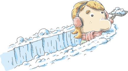 A cartoon woman with ear muffs shovels a deep paths through fresh, white snow.