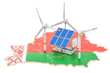 Renewable energy and sustainable development in Belarus, concept. 3D rendering
