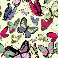Kolorowy wzór motyle. Wektorowy illustrattion na żółtym tle