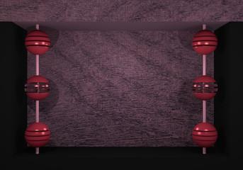 Kugeln an einer Stange in einer Kastenform in schwarz, altrosa und Holz.