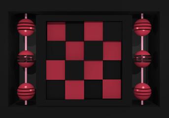 abstraktes Muster mit Kugeln an einer Stange und einem Schachbrettmuster in altrosa und schwarz. 3d render