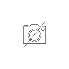 No Photography line icon, Forbidden To Use Camera outline vector logo, linear pictogram isolated on white, pixel perfect illustration