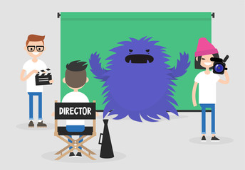 Camera crew: director, cameraman and assistant working on the film set. Horror movie. Big scary monster. Entertainment industry / flat editable vector illustration, clip art