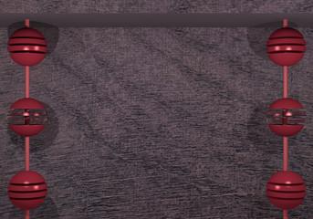 Kugeln an einer Stange die aus der Decke kommen vor einer altrosa-farbenden Holzwand