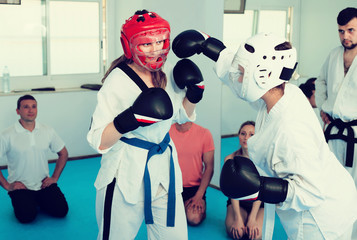 Young women show their skills in sparring