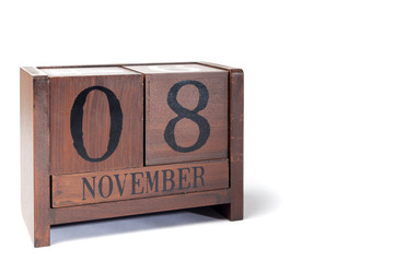 Wooden Perpetual Calendar set to November 8th