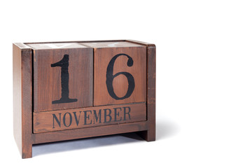 Wooden Perpetual Calendar set to November 16th