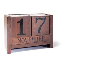 Wooden Perpetual Calendar set to November 17th