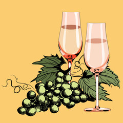 Glasses with vine. Grapes between them. Vector illustration on light orange background