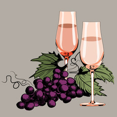 Glasses with vine. Grapes between them. Vector illustration on light brown background