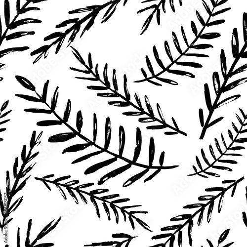 Vector Seamless Leaves Pattern Black White Background Made With