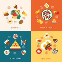 Digital vector breakfast meal fresh food and drink