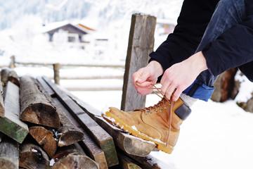 Wanderung im Winter, Wanderschuhe