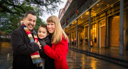 Happy Young Mixed Race Family Enjoying an Evening in New Orleans, Louisiana