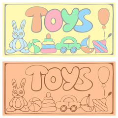Two vector cards with toys and letters. Suitable for flyer, poster or advertising banner