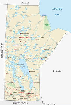 Province manitoba vector road and travel map