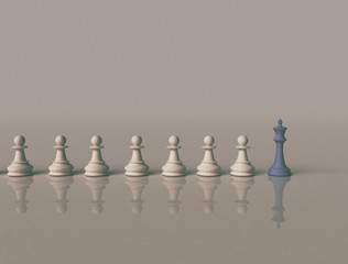Leadership background image. Blue chess king in front
