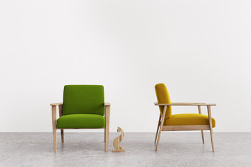 Green and yellow armchairs