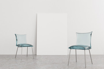 Two blue glass chairs, poster