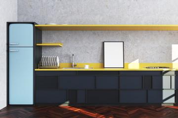Concrete kitchen, black countertop, poster