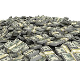 Big pile of us dollars isolated on white background