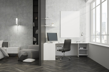 Concrete and black home office interior, poster