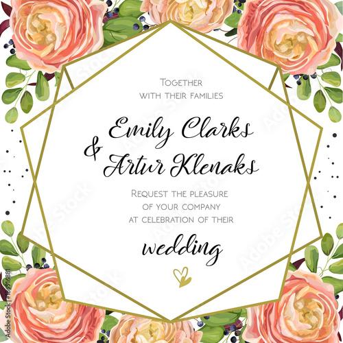 Wedding invitation floral invite card design with pink peach rose wedding invitation floral invite card design with pink peach rose ranunculus elegant blue berry stopboris Choice Image