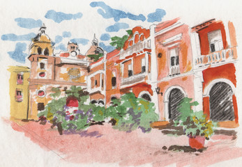 Town square, Colombia. Watercolour with clock tower.