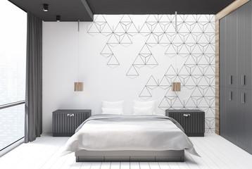 White hexagon bedroom interior
