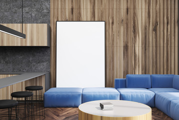 Gray and wooden living room, poster and bar