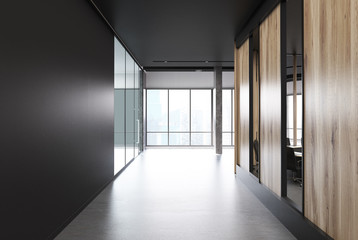 Black and wooden office lobby