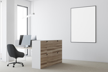 White open space office, poster