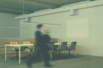 White meeting room corner, wooden chairs toned