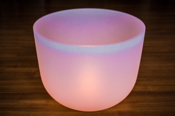 Big crystal singing bowl solo close up